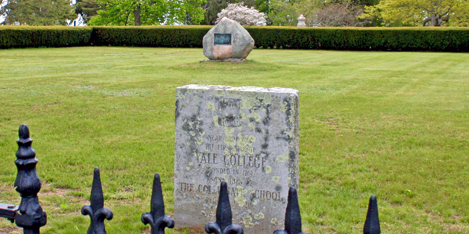 a stone marks the original site of Yale University, Old Saybrook, Connecticut