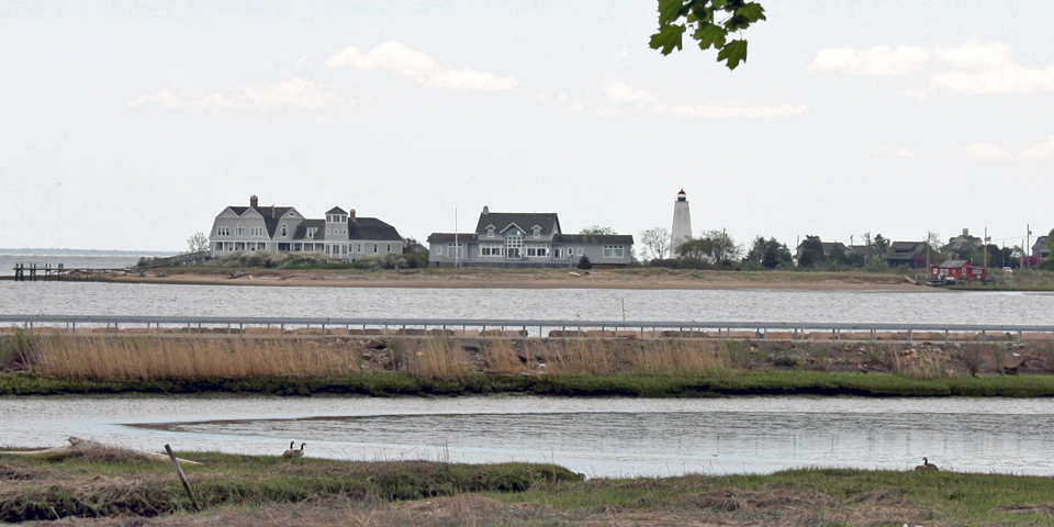 view of Lynde Point Lighthouse, the Inner Light, from the Causeway, Old Saybrook, Connecticut