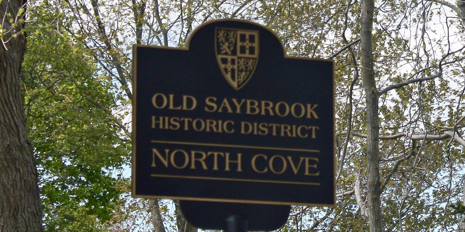 Old Saybrook Historic District North Cove sign, Old Saybrook, Connecticut