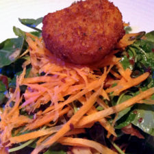 Red-Green Watercress Salad, House-Made Granola, Candied Almonds, Connecticut Goat Cheese Croquette and Blood Orange Viniagrette, Fresh Salt, Saybrook Point Inn & Spa, Old Saybrook, Connecticut