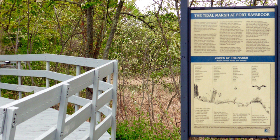 Boardwalk and Tidal Marsh at Fort Saybrook Monument Park, Old Saybrook, Connecticut