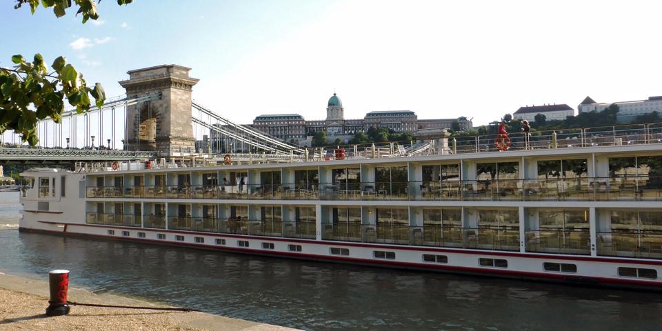 The Viking Baldur docked by the Chain Bridge in Budapest, Hungary