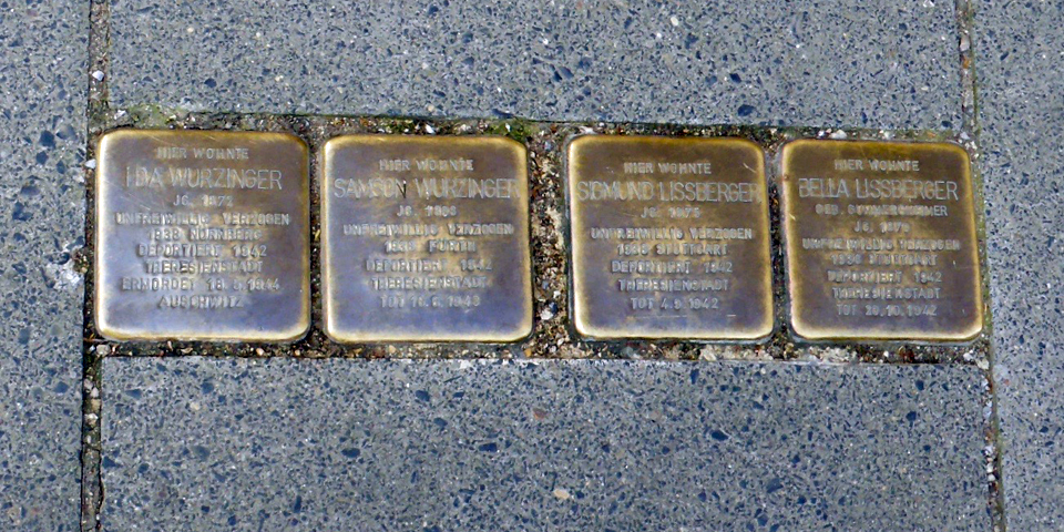plaques marking homes of Holocaust victims