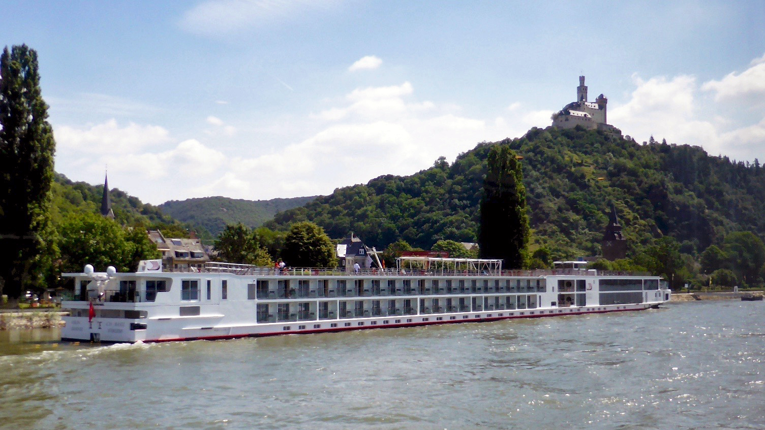 A passing Viking River Cruises' longship during our cruise past castles of the Rhine