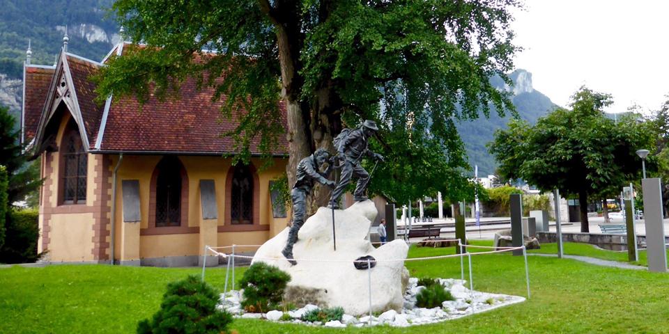 statue honoring Melchior Anderegg, Meiringen, Switzerland