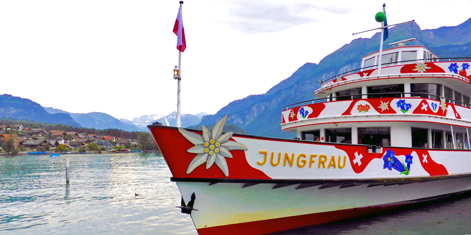 Jungfrau, boat from Brienz to Interlaken along Lake Brienz, Switzerland