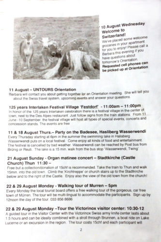 some of the special events in our Untours newsletter