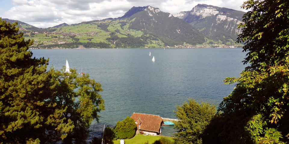 view of Lake Thun from Spiez Castle