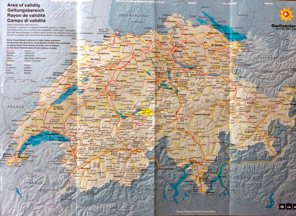 Swiss Travel System map with Meiringen highlighted in yellow