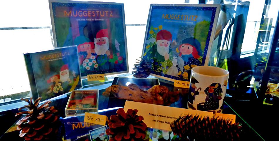 Muggestutz books on display at the Panorama Restaurant, Planplatten, Switzerland