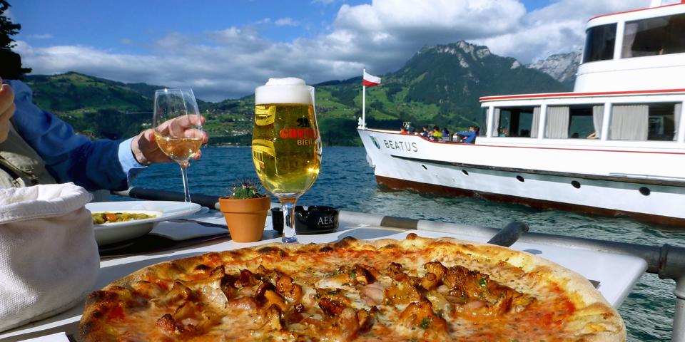 pizza by the boat dock in Spietz, Switzerland
