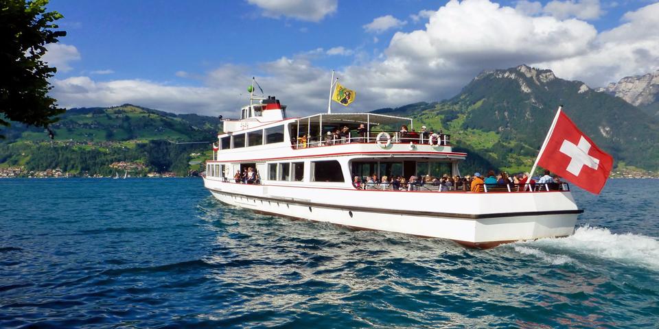 boat on Lake Thun, Spiez, Switzerland