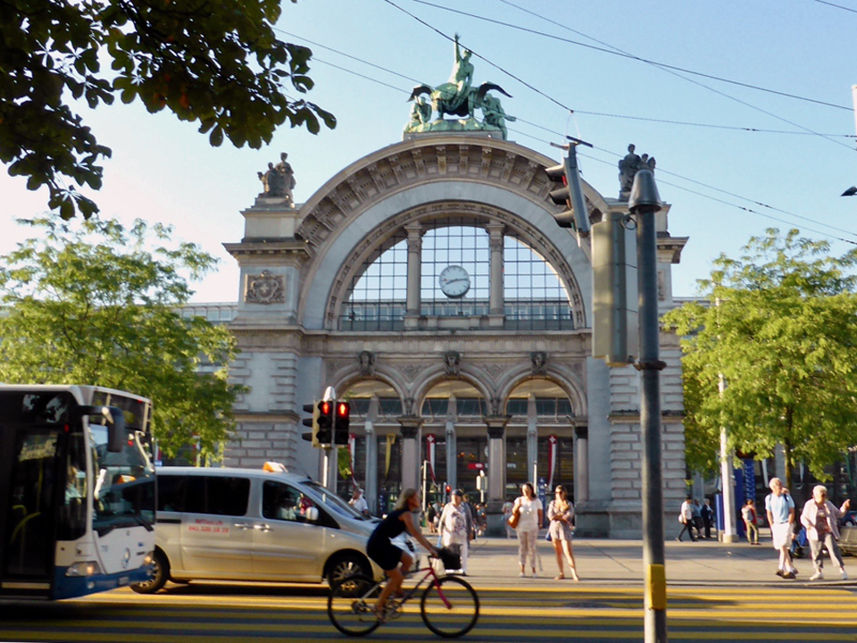 arch from former railway station, Lucerne, Switzerland