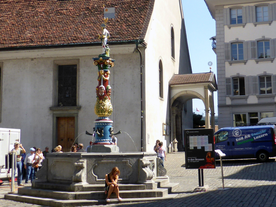Fritschi Fountain and St. Peter's Chapel, Lucerne