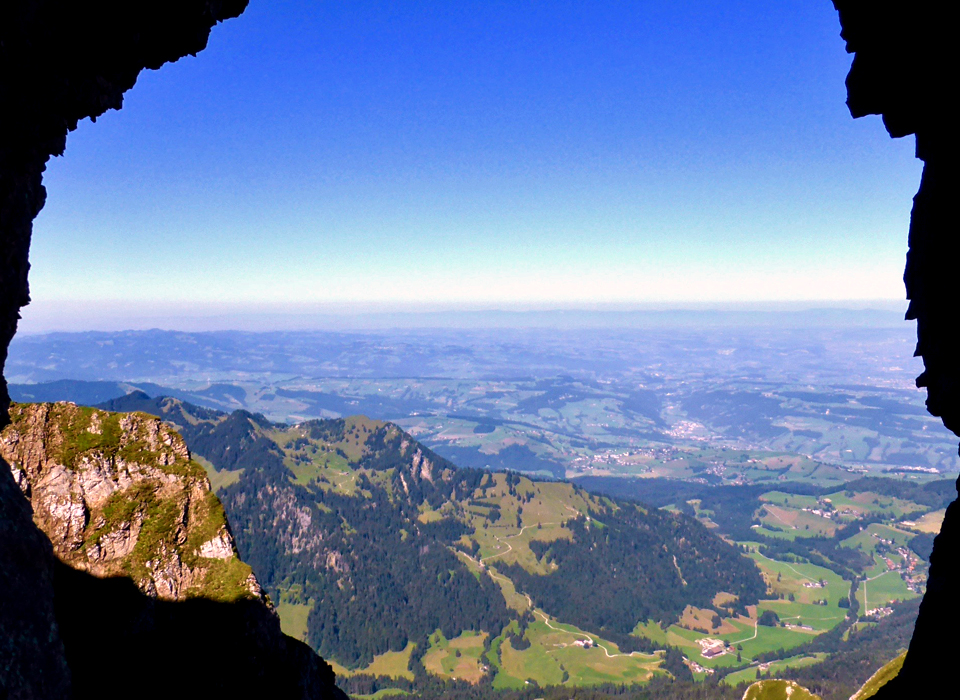 view through one of the cutouts in the tunnel through the summit area of Mt. Pilatus