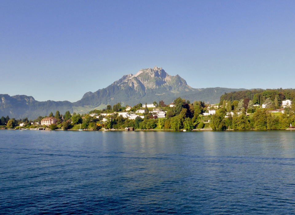 view of Mt. Pilatus from Lake Lucerne