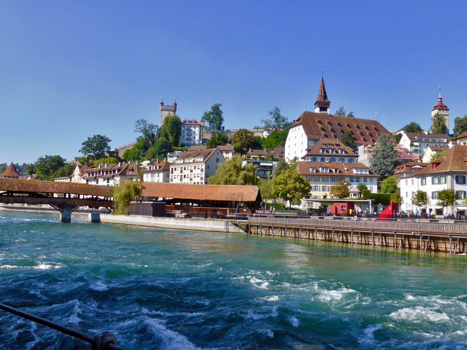 view of bridge and ramparts, Lucerne
