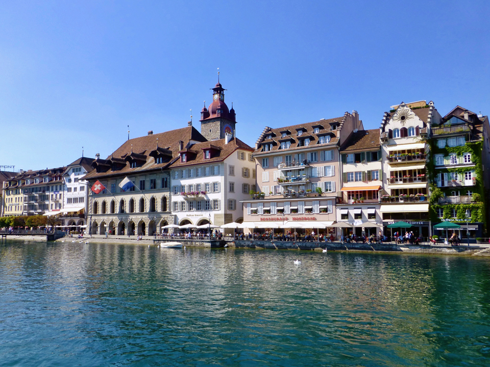 houses along Reuss River, Lucerne,Switzerland