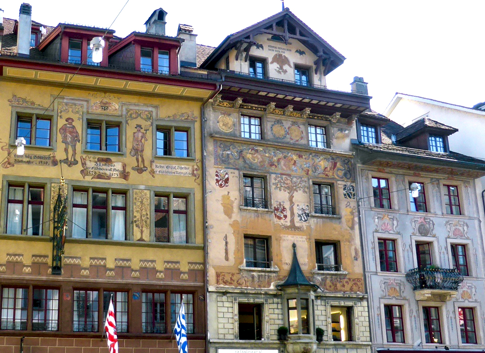 painted facades, Lucerne, Switzerland