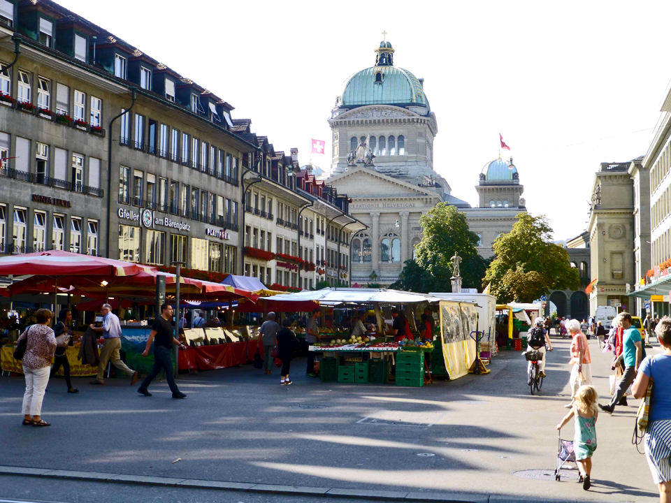 market day at Parliament Square, Bern, Switzerland