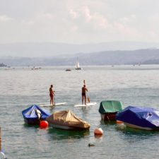 paddle boarders, Lake Zurich
