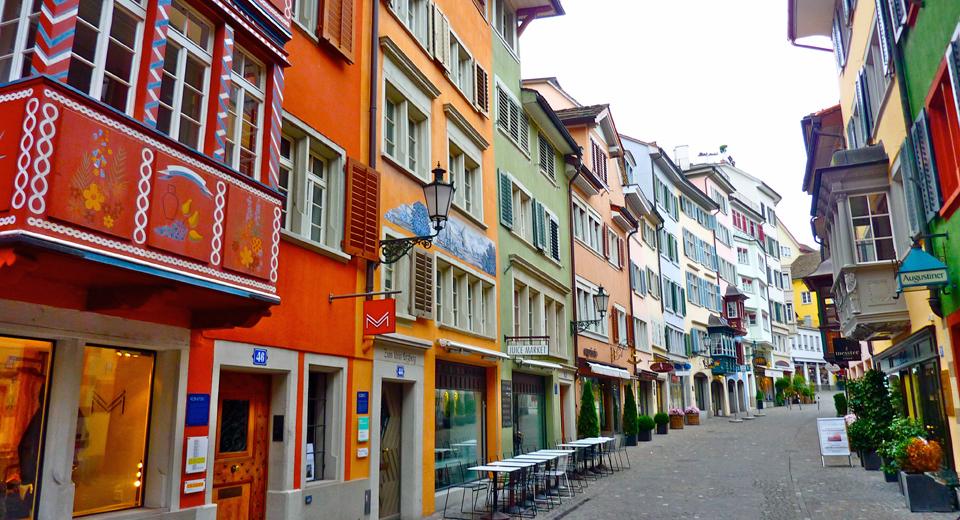street of bay windows, Old Town, Zurich
