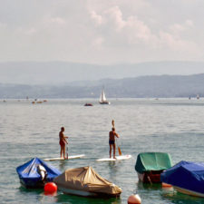 paddleboarders, Lake Zurich