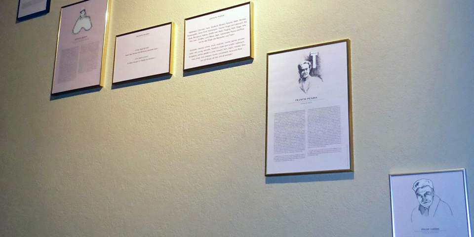 a portion of the Dada exhibit at the Hotel Ambassadorr à l'Opera Zurich