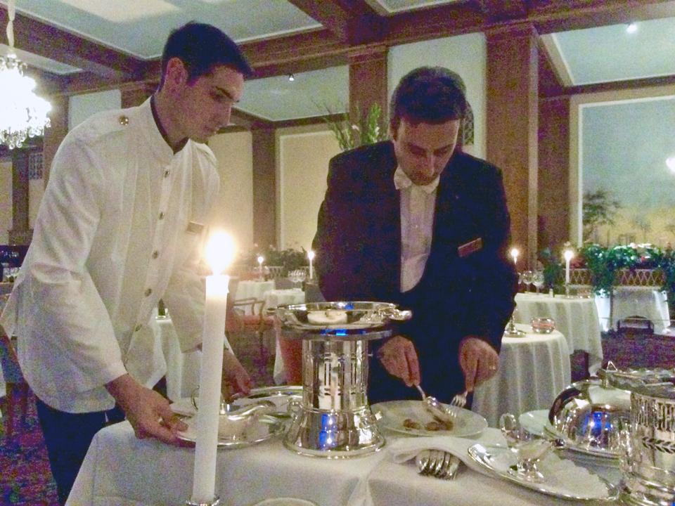 gueridon service at Badrutt;s Palace, St. Moritz