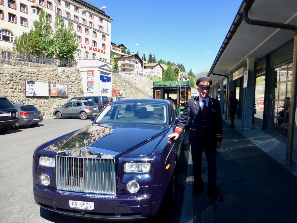 a limousine was awaiting us at the train station in St. Moritz