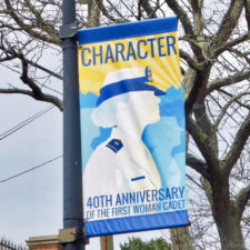 banner at the U. S. Coast Guard Academy, New London, CT