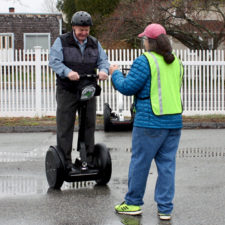 preparing for a Wheeling City Segway Tour, New London, Connecticut