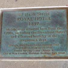 plaque at site of the Royal Hotel, New London, Connecticut