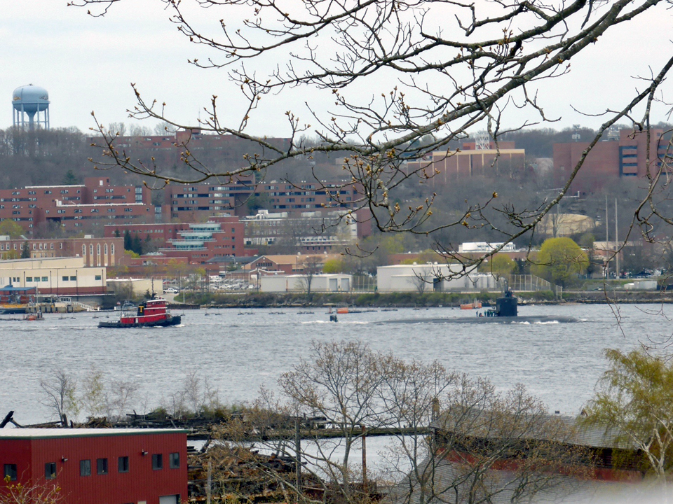 submarine and tugboat, from Coast Guard Academy lot, New London, Connecticut