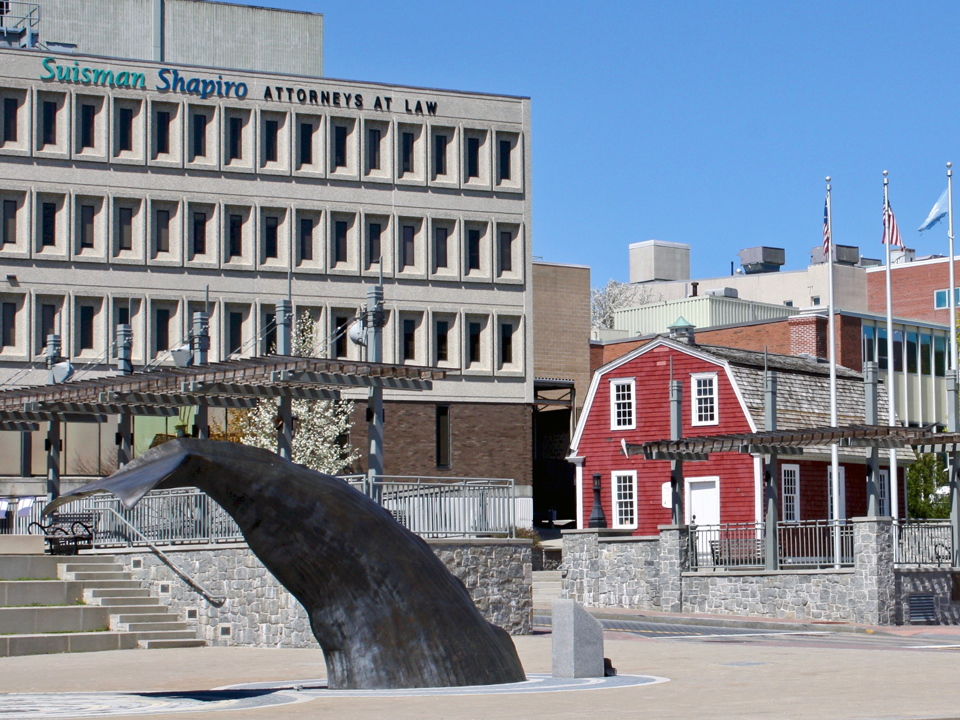 Whale Tail Fountain and Nathan Hale Schoolhouse, New London, Connecticut