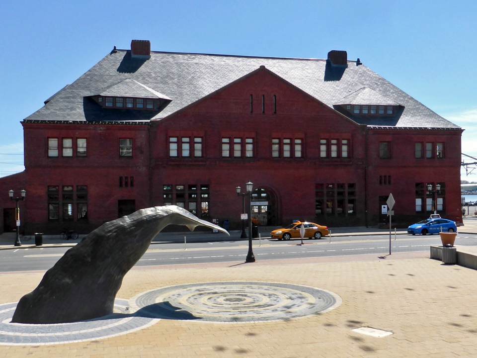 Whale Tail Fountain and Union Railway Station, New London, Connecticut
