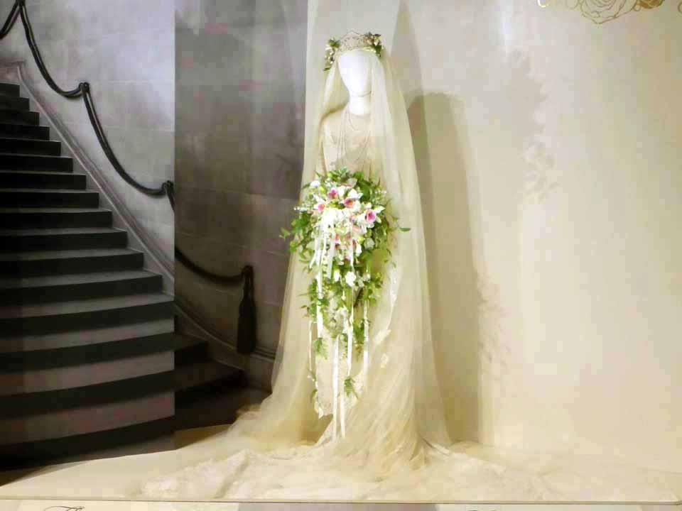 replica of Cornelia Vanderbilt's wedding gown and veil, Biltmore Estate, Asheville,North Carolina