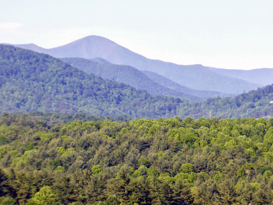 view of the Blue Ridge mountains from the Biltmore Estate, Asheville, North Carolina