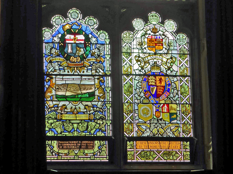 stained glass windows in the Guild Hall, Londonderry, Northern Ireland