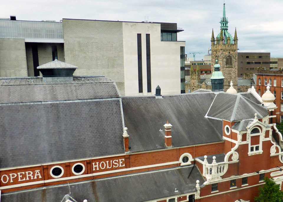 view of Belfast's Opera House from the Europa Hotel