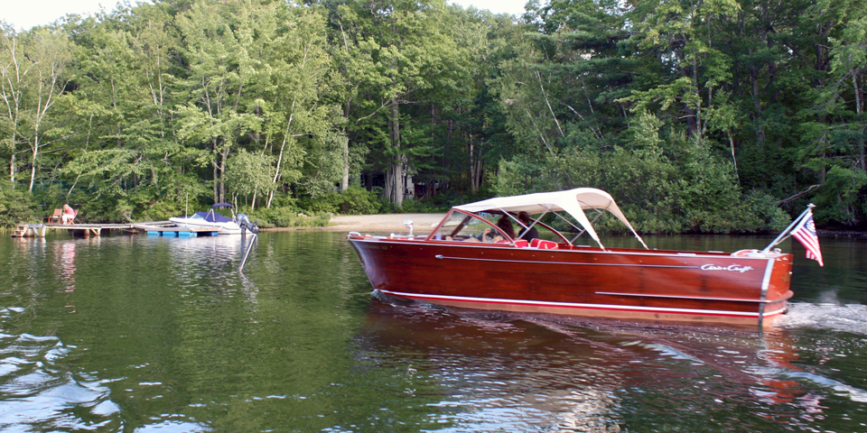 A Chris Craft boat on Squam Lake, Holderness, NH
