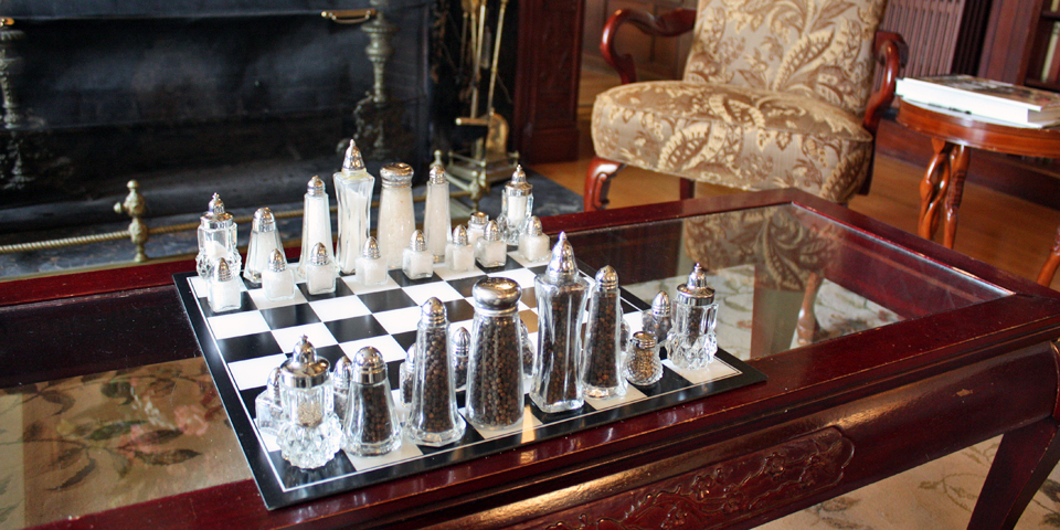 salt and pepper chess set, The Manor on Golden Pond, Holderness, NH