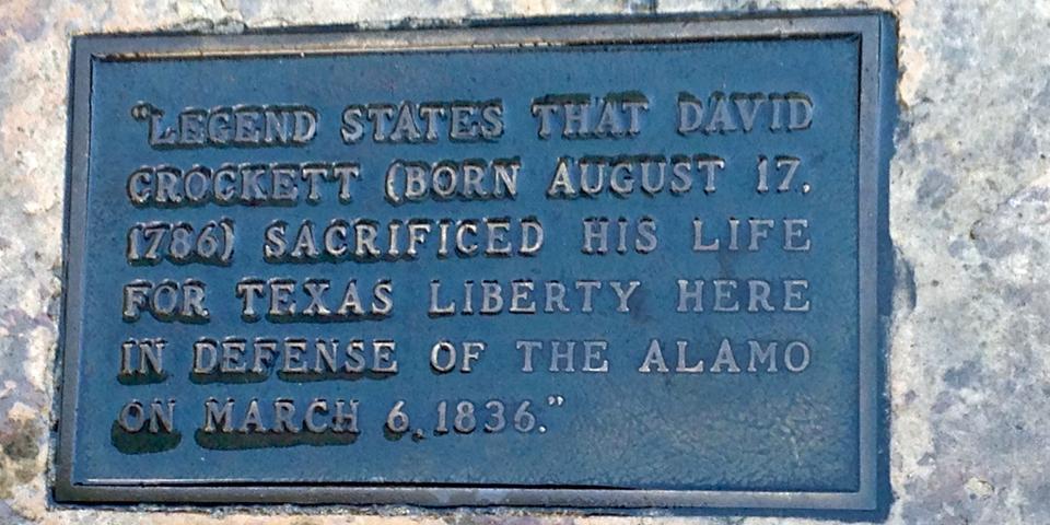 Davy Crockett plaque at the Alamo, San Antonio