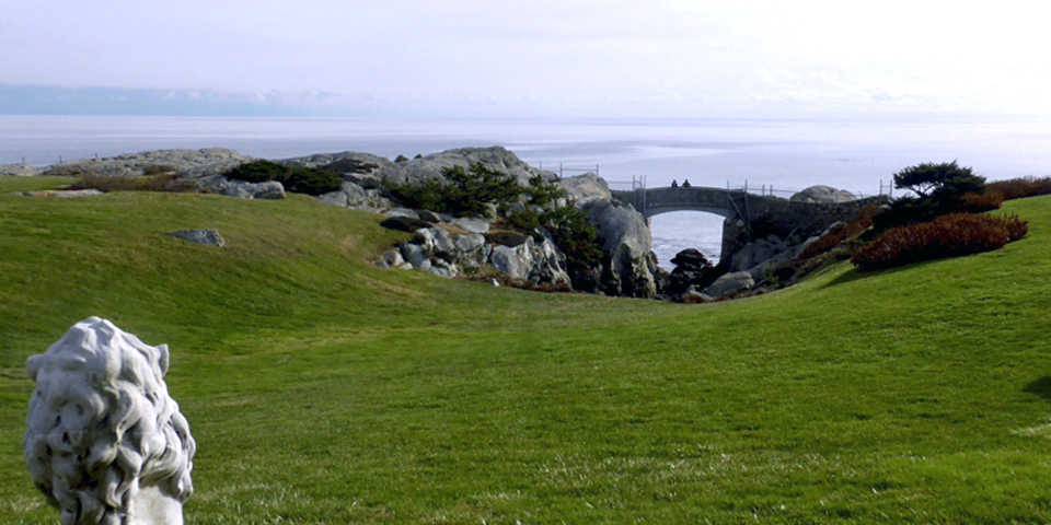 """View of the Cliff Walk and the """"Rough Point"""" the mansion."""