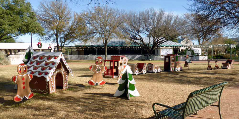 Marktplatz decorated for the holidays, Fredericksburg, Texas