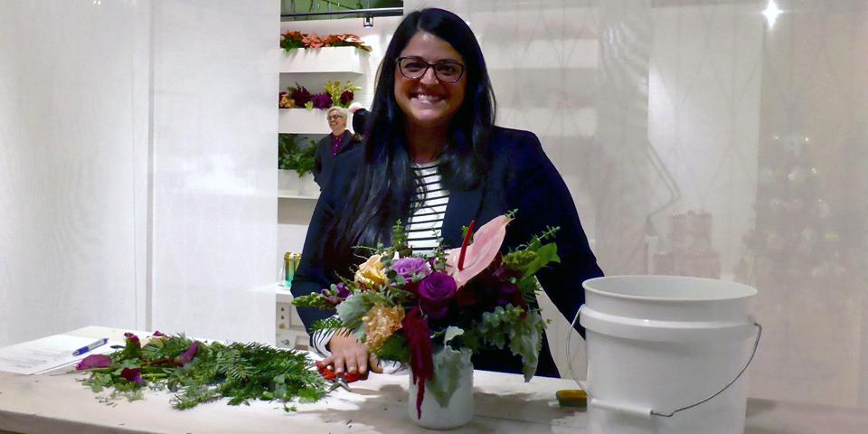 Ashley Mauricio-Flores at the Vintage Bouquet Bar