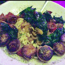 Alfa Gondola seared local scallops with roasted speck ham, greens, mushrooms, garlic, oregano, banana peppers, & tomatoes with fresh pasta, Cafe Miranda Rockland, Maine