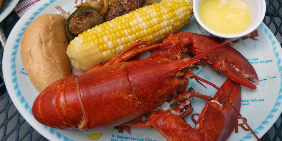 boiled lobster dinner