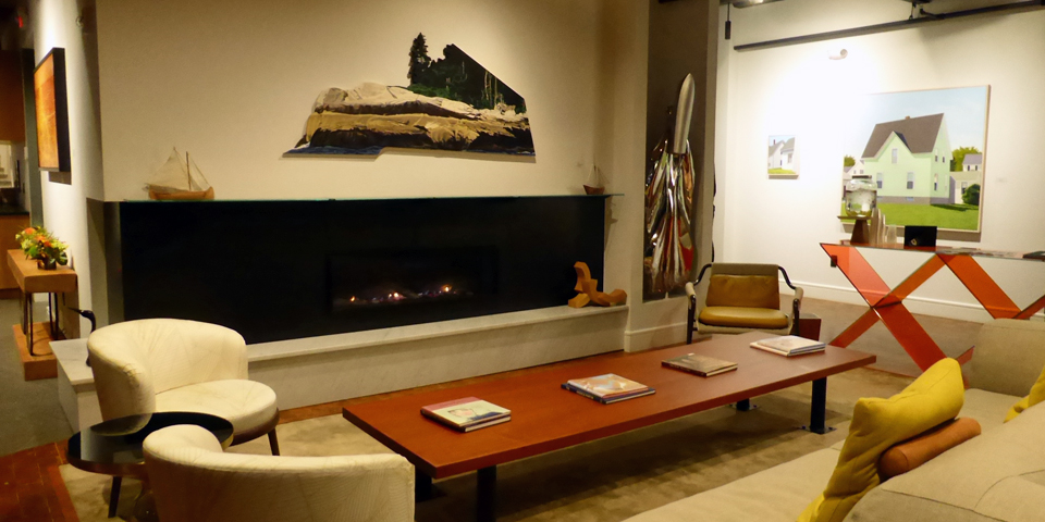 lobby and fireplace, 250 Main, Rockland, Maine