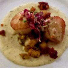 Sea scallops, parsnip duo. pork belly, pea tendril slaw, clam soubise, Nonantum Resort, Kennebunkport